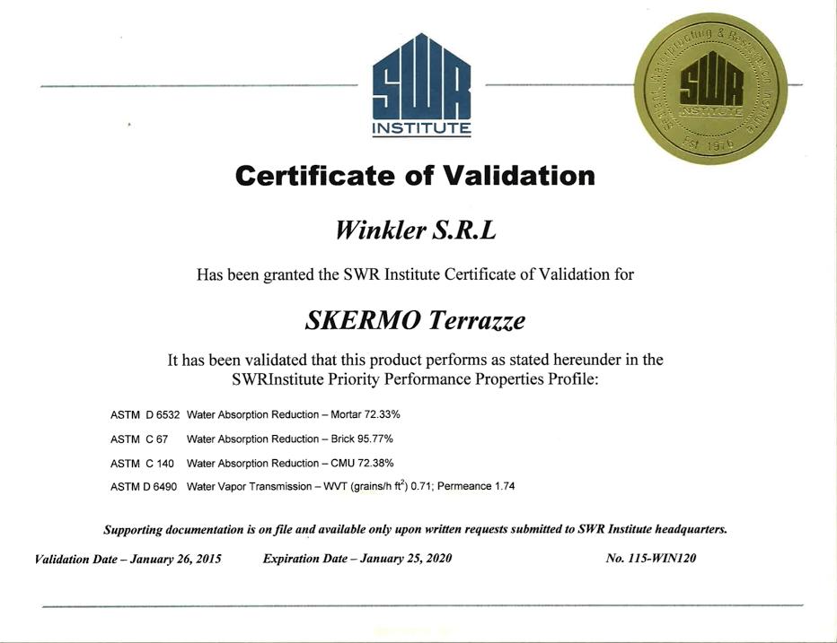 certificate SWR-1